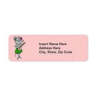 Hawaiian Hula Mouse Return Address Label