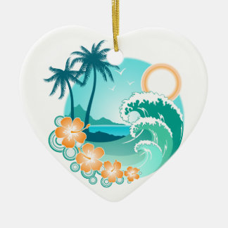 Hawaiian Island 1 Ceramic Heart Ornament