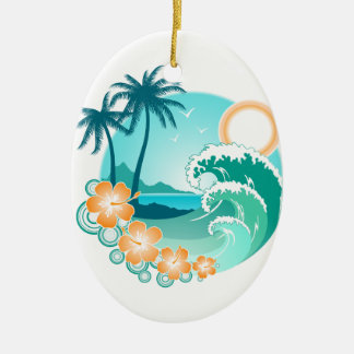 Hawaiian Island 1 Ceramic Oval Ornament