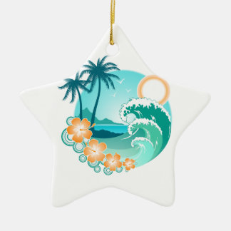 Hawaiian Island 1 Ceramic Star Ornament