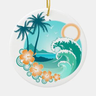 Hawaiian Island 1 Round Ceramic Ornament
