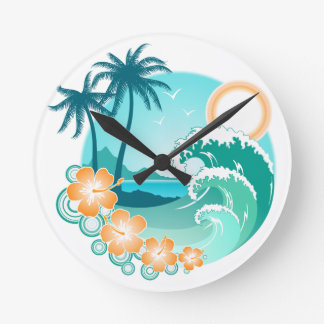 Hawaiian Island 1 Round Clock