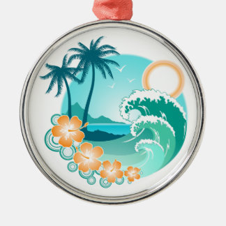 Hawaiian Island 1 Silver-Colored Round Ornament