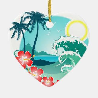 Hawaiian Island 2 Ceramic Heart Ornament
