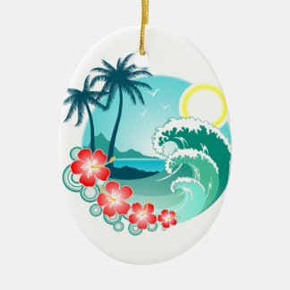 Hawaiian Island 2 Ceramic Oval Ornament