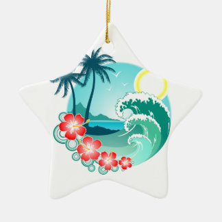 Hawaiian Island 2 Ceramic Star Ornament