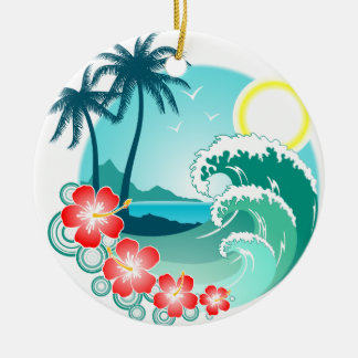 Hawaiian Island 2 Round Ceramic Ornament