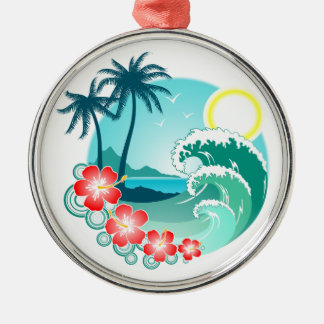 Hawaiian Island 2 Silver-Colored Round Ornament
