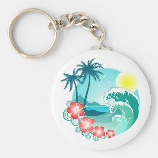 Hawaiian Island 3 Basic Round Button Keychain