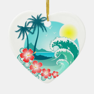 Hawaiian Island 3 Ceramic Heart Ornament