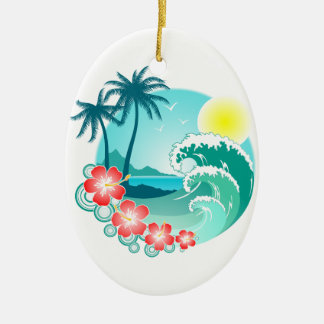 Hawaiian Island 3 Ceramic Oval Ornament