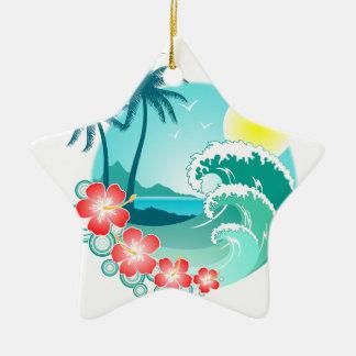 Hawaiian Island 3 Ceramic Star Ornament