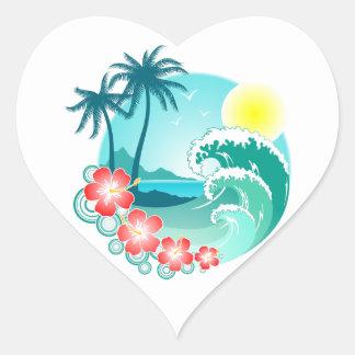 Hawaiian Island 3 Heart Sticker