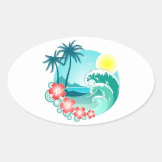 Hawaiian Island 3 Oval Sticker