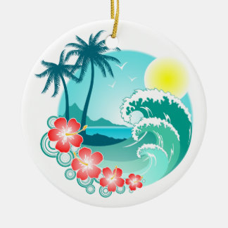 Hawaiian Island 3 Round Ceramic Ornament