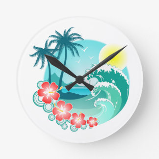 Hawaiian Island 3 Round Clock