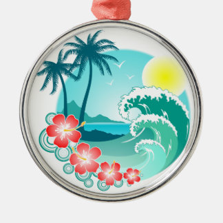 Hawaiian Island 3 Silver-Colored Round Ornament