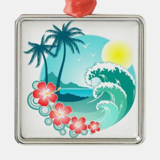 Hawaiian Island 3 Silver-Colored Square Ornament