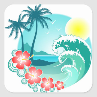 Hawaiian Island 3 Square Sticker
