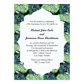 Hawaiian Island Beach Wedding Monsterra Deliciosa Card
