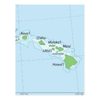 Hawaiian Island Chain Map Postcard