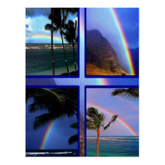 Hawaiian Island rainbows Postcard
