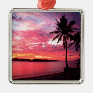 Hawaiian Island Sunset Silver-Colored Square Ornament