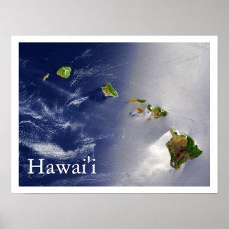 Hawaiian Islands Satellite View Poster