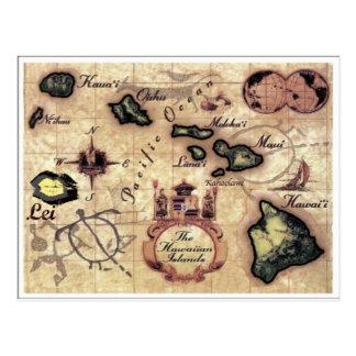 Hawaiian Islands vintage map with rarely seen Lei Postcard