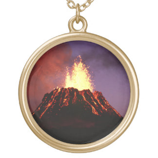 Hawaiian Islands Volcano Gold Plated Necklace
