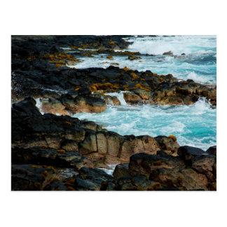 Hawaiian Lava Ocean Coast Line Hawaii Waves Postcard