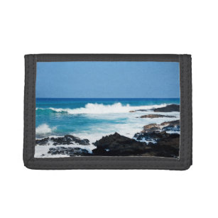 Hawaiian Lava Rock and Coral Ocean - Hawaii Tri-fold Wallet