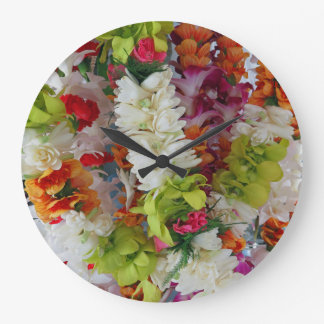 Hawaiian Lei Stand Large Clock