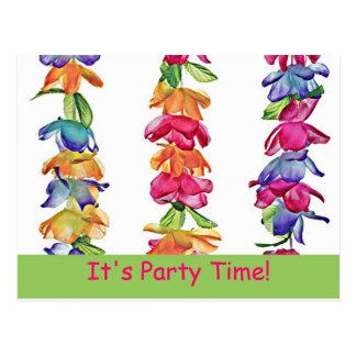 Hawaiian Leis on Postcard - PartyTime!