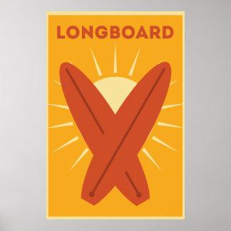 Hawaiian Longboard Surfboard Vintage Retro Poster
