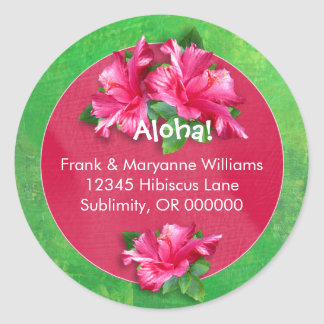 Hawaiian Luau Address Labels with Pink Hibiscus