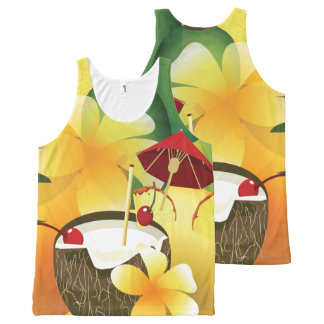 Hawaiian Luau Coconut Drink Party PAO All-Over-Print Tank Top