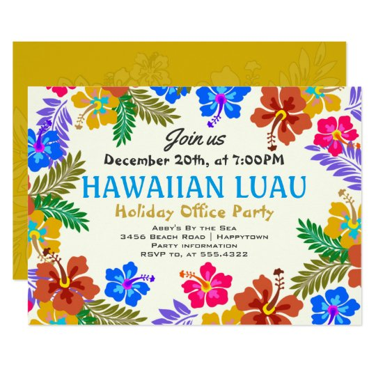 Hawaiian Luau Custom Party Hibiscus Invitations