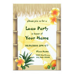 "Hawaiian Luau Tiki Hut Tropical Party Invitation 5"" X 7"" Invitation Card"