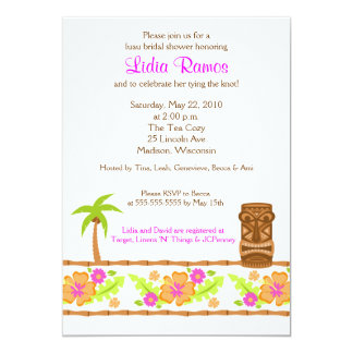 Hawaiian Luau Tropical 5x7 Bridal Shower Invite