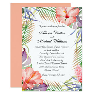 Hawaiian Luau Tropical Floral Wedding Card