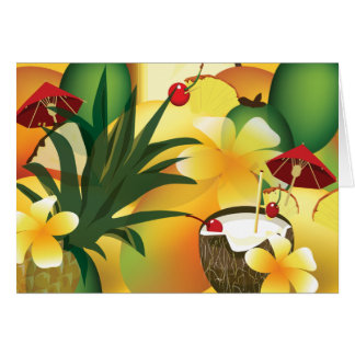 Hawaiian Luau Tropical tiki Bar Greeting Card