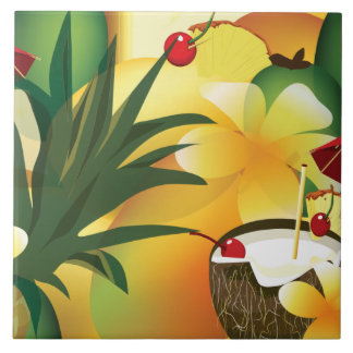 Hawaiian Luau Tropical Tiki Bar Large Tile