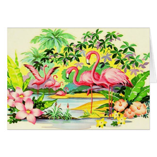 Hawaiian Mahalo Thank You Vintage Card Flamingos