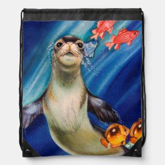 Hawaiian Monk Seal Drawstring Bag