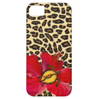 Hawaiian Oahu Honu and Golden Leopard Print Case For The iPhone 5