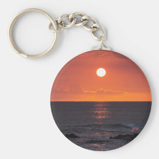 Hawaiian Ocean Sunset - Hawaii Sunsets Keychain