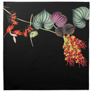 Hawaiian Orchid Floral Tropical Leaf Cloth Napkins