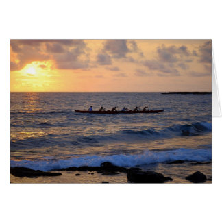 Hawaiian Outrigger Canoe at Sunset Card