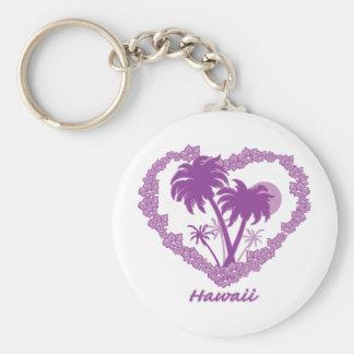 Hawaiian Palm Tree Heart Basic Round Button Keychain